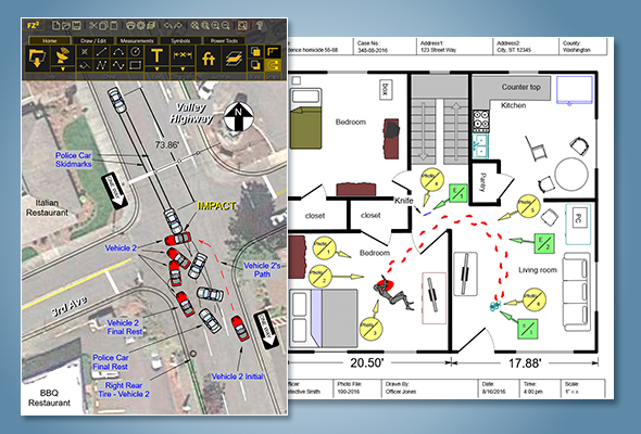 Faro Zone 2d Is The Best Software Tool For Creating Law Enforcement Diagrams For State Crash Scene Reports 2d Crime And Fire Scene Diagrams